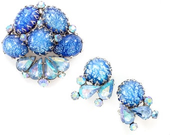 Vintage Signed Coro Blue Dragon's Breath Art Glass Rhinestone Brooch and Earring Set - Vintage Costume Jewelry