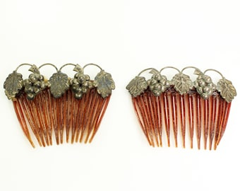 Silver Grape Hair Combs - Vintage Mexican Sterling Ornaments - AS IS