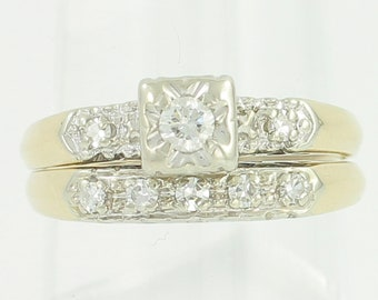 Diamond Wedding Rings - .25 CT TW Natural Diamond 14K White Yellow Gold Engagement Band Bridal Set - c1950 Size 6.75 - Vintage Jewelry