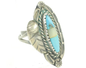 Vintage Turquoise Mother of Pearl Southwest Silver Ring - Sterling Feather Dew Drop Ring Size 6 1/2 - c1960 - Vintage Jewelry