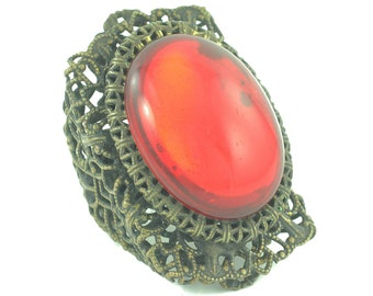 Huge Glam Brass Filigree Ruby Red Glass Cabochon Victorian Revival Ring - Kim Craftsmen 1960s Handmade New York - Size 6.75- Vintage Jewelry