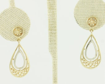 Vintage Gold Filigree Dangle Earrings - 14K Yellow White Gold Teardrop Dangles with Pierced Screw Posts circa 1960 - Vintage Fine Jewelry