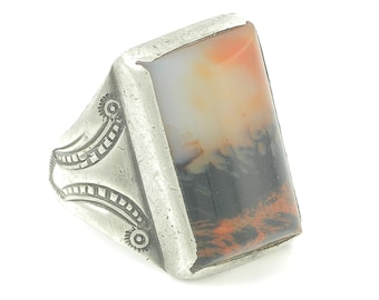 Silver Landscape Agate Ring - Art Deco Sterling Large Mans Ring from Estate - Scroll Arrow Decoration - c1930 Size 10 - Vintage Jewelry