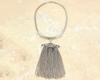 Vintage Tassel Choker - 1960s Silver-Tone Fringe Statement Necklace - Dramatic Mod Runway Jewelry
