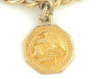 10K Chesapeake Potomac Telephone Company Charm on GF Curb Bracelet - 10K Yellow Gold C&P Service Award O C Tanner - Vintage Jewelry