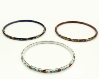Three Floral Cloisonne Bangle Bracelets - Enamel Flower Bracelet Trio circa 1970 - Vintage Jewelry