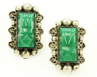 Silver Green Onyx Earrings Mexico - Vintage Mexican Sterling Carved Chalcedony Aztec Mask Screw Backs - Estate Jewelry
