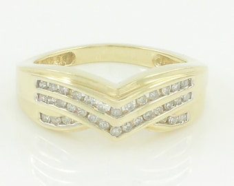 Vintage Diamond Chevron Ring - .66 CT TW Channel Set Diamond 10K Yellow Gold Band - Size 6.75 Circa 1980 - Estate Fine Jewelry