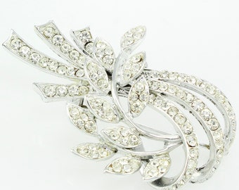 Vintage Signed Weiss Rhinestone Iced Pin Brooch in Silver Tone - Vintage Signed Costume Jewelry