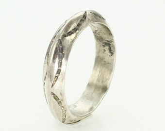 Vintage Southwestern Sterling Silver Wedding Band Ring Size 7.25 - New Old Stock Hand Made Jewelry