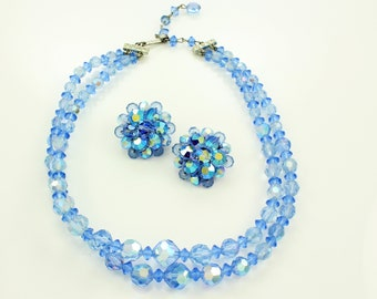Vintage Baby Blue Bead Necklace - Aurora Borealis Faceted Crystal Double Strand Beaded Collar Clip On Earrings - Reto  1960s Vintage Jewelry