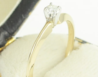 Gold Diamond Solitaire Ring - .11 CT Diamond 14K Engagement Ring - I1 G-H - Size 6 Circa 1990 -New Old Stock - Retro Vintage Fine Jewelry