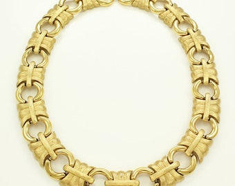 Vintage Givenchy Gold Tone Runway Necklace - 1980s Statement Jewelry - Florentine Bright Bold Collar