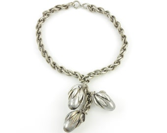 Napier Cumquat Drop Necklace - Eugene Bertolli Chunky Silver Plated Acorn Seed Pod Choker - circa 1950 - Signed Vintage Costume Jewelry