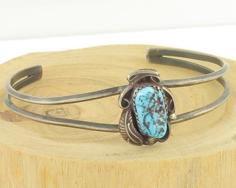 Southwestern Sterling Turquoise Cuff - Sterling Silver Hand Made Bracelet Signed - Vintage Hippie Jewelry - Old Pawn