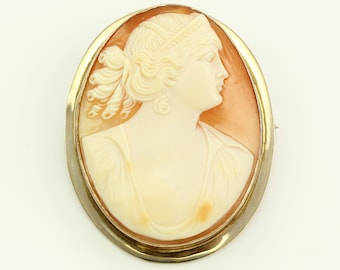 Large Antique 10K Hera Shell Cameo Brooch - Yellow Gold Carved Shell Hera Brooch Pin - Edwardian Fine Jewelry