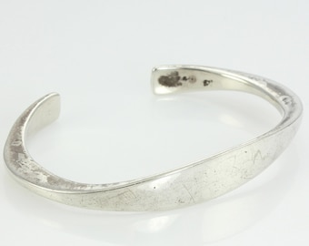C Leslie Smith Modernist Sterling Cuff - Vintage Hand Made Silver Bracelet - CLS Handwrought Modern Jewelry