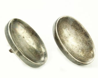 Mid Century Modern Silver Earrings - Antonio Pineda Modernist Sterling Oval Earrings - Taxco Mexico Eagle 17 - Silver by Tono - MCM Vintage