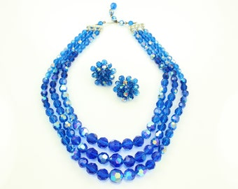 Royal Blue Beaded Glass Necklace - Three Strand Faceted Crystal Collar Aurora Borealis Beads - Clip On Earrings - Vintage 1970s Jewelry Set