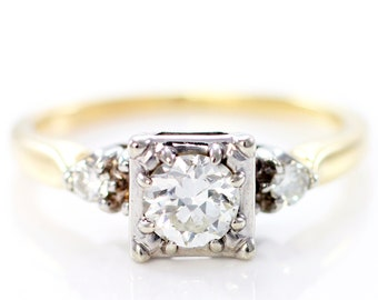 Art Deco Diamond Engagement Ring - .58 CT TW Old European Cut Diamond - 14K White and Yellow Gold Vintage Wedding Ring