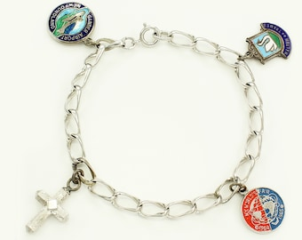 Vintage 1960s Sterling 4 Charm Bracelet - 1964 NY World's Fair - Enamel Gander Airport NF - Walton on Thames - Cross - Silver Jewelry Charms