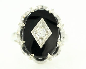 Vintage Onyx Ring - Art Deco 10K White Gold Diamond - 1930s Size 6 3/4 Black Gemstone Scalloped Statement Jewelry
