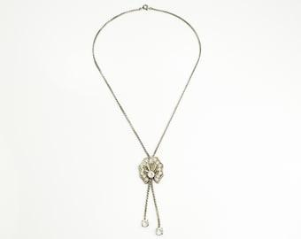 Crystal Sterling Art Deco Lariat Necklace  - A Regel Sterling Silver Rock Crystal Quartz Scallop Art Moderne Design - Vintage Signed Jewelry