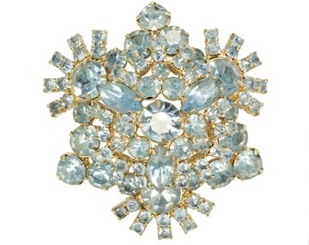 1960's Powder Blue Round Marquise Rhinestone Statement Pin Brooch - Vintage Unsigned Beauties Costume Jewelry