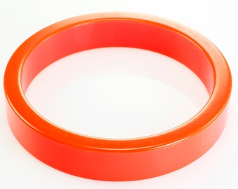 Vintage Melon Orange Bakelite Tubular Bangle Bracelet - Fantastic Plastic Jewelry