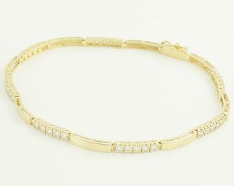 "14K Bracelet 1 CT Diamond Bar Link Bracelet - 1980s Straight Line Tennis Yellow Gold Natural Diamond 7.25"" Bracelet - Vintage Fine Jewelry"