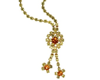 Yellow and Root Beer Daisy Rhinestone Long Drop Necklace circa 1950 - Vintage Lariat Necklace - Estate Costume Jewelry