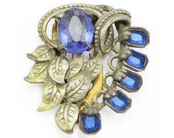 Art Deco Blue Glass Leaves Dress Clip - Vintage Royal Blue Glass Antiqued Silver Tone Pin Ornament - 1930s Costume Jewelry