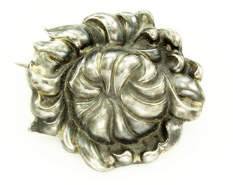 Unger Brothers Sterling Silver Floral Brooch - Antique Repousse Antique Peony Flower Pin - Unger Bros American Art Nouveau Jewelry