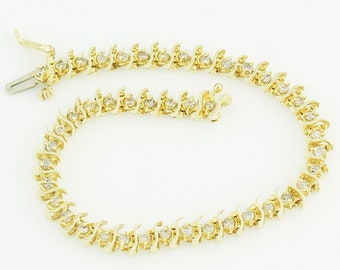 2 CT Diamond Tennis Bracelet - 14K S Link Straight Line Diamond Retro Bracelet - Circa 1980s - Vintage Fine Jewelry