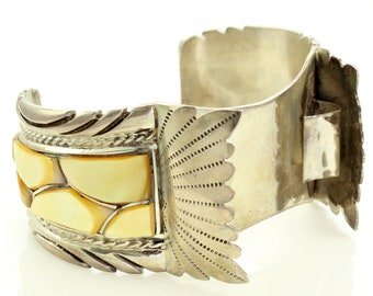 Vintage Zuni Channel Set Gold Lip Shell Sterling Mans Watch Cuff Bracelet - 1970s Silver Golden Mother of Pearl Native American Jewelry