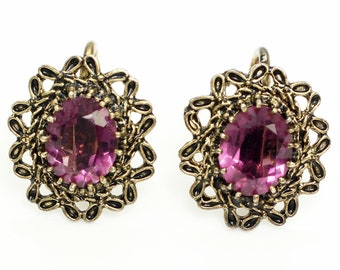 Vintage Antique Gold Finished Sterling Earrings with Purple Stones - Screw Back Ear Bobs - Estate Jewelry