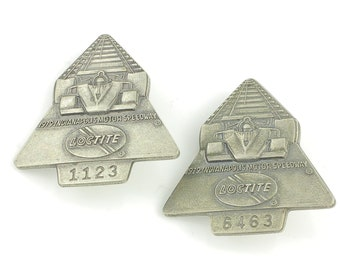 Pair of 1979 Indy 500 Silver Pit Badges - Indianapolis Motor Speedway Pass Loctite - Vintage Sports Racing Memorabilia