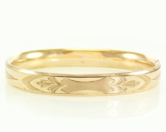 Antique 10K Rose Gold Filled Engraved Hinged Bangle Bracelet 7.5 inch F.M. Co. - Finberg Manufacturing Company - Ladies Estate Jewelry