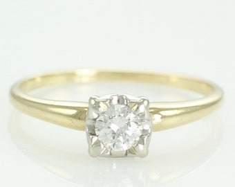 Vintage .25 CT Diamond Engagement Ring Illusion Head of 18K and Platinum - 1940s Natural Diamond Solitaire - VS1 Clarity - F-G Color
