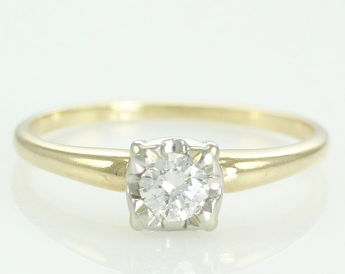 Featured listing image: Vintage .25 CT Diamond Engagement Ring Illusion Head of 18K and Platinum - 1940s Natural Diamond Solitaire - VS1 Clarity - F-G Color