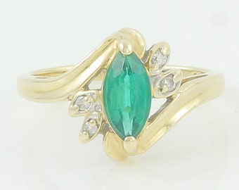 14K Marquise Created Green Spinel Diamond Ring - Vintage 14K Yellow Gold Lab Created Green Spinel Bypass Ring 4.25- 1980s Vintage Jewelry