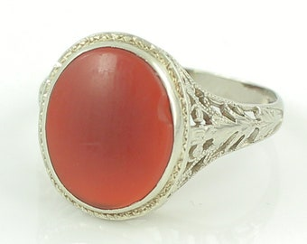 Art Deco Filigree 14K White Gold Carnelian Signet Ring - Antique Edwardian Small Oval Engraved Ladies Ring - c1920 Size 5.5- Vintage Jewelry