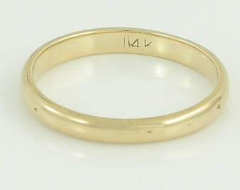 14K Yellow Gold Wedding Band - Half Domed 2.5 mm Wide Band Ring  - 2 grams Size 6.5 c 1920 - Stacker Stack Ring - Vintage Fine Jewelry