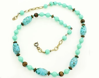 Vintage Blue Green Confetti Venetian Glass Bead Necklace - Murano Jewelry - 1950s Beaded Strand