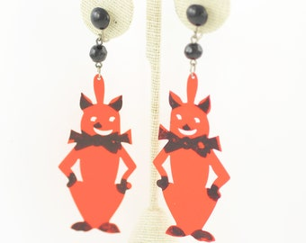 Vintage Halloween Cat Celluloid Earrings - Hand Painted Black Orange Cats Dangle Earrings - 3.5 Inch - circa 1950 - Vintage Plastic Jewelry