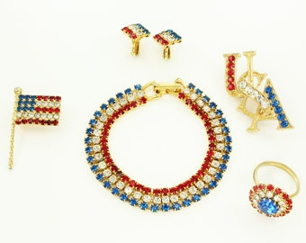 Patriotic Jewelry Set - Red White Blue Rhinestone Bracelet Ring Earrings - USA and Flag Brooch - Vintage Jewelry