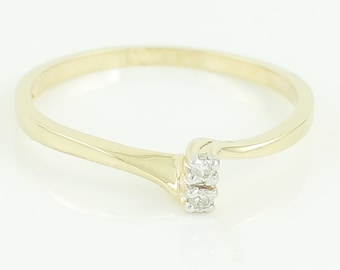Diamond Promise Ring .10 CT 10K Yellow Gold - New Old Stock - Two Diamond Bypass Ring JBCO -  Size 6 c1990 -  Retro Vintage Fine Jewelry