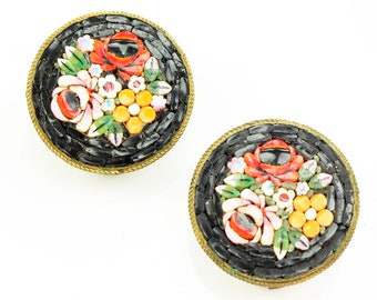 Italian Micro Mosaic Floral Earrings - Vintage Flower Clip Ons - Black and Bright - Red Rose Jewelry