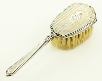 Vintage Webster Sterling Baby Brush  - Engine Turned Engraving Floral Decoration -  Silver Christening Gift