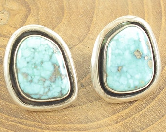 Turquoise Silver Earrings - Vintage Sterling Morenci Turquoise with Pyrite Pierced Earrings - 10.1g Hand Made- Vintage Southwestern Jewelry